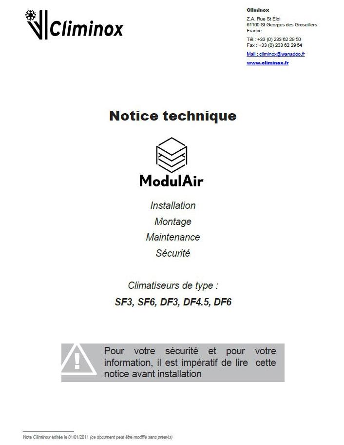 Notice ModulAir, conditionneur d'air évolutif en inox