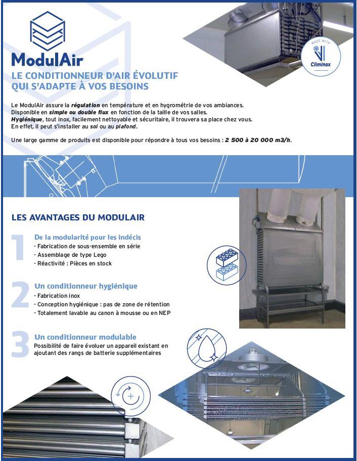 Plaquette ModulAir, conditionneur d'air évolutif en inox
